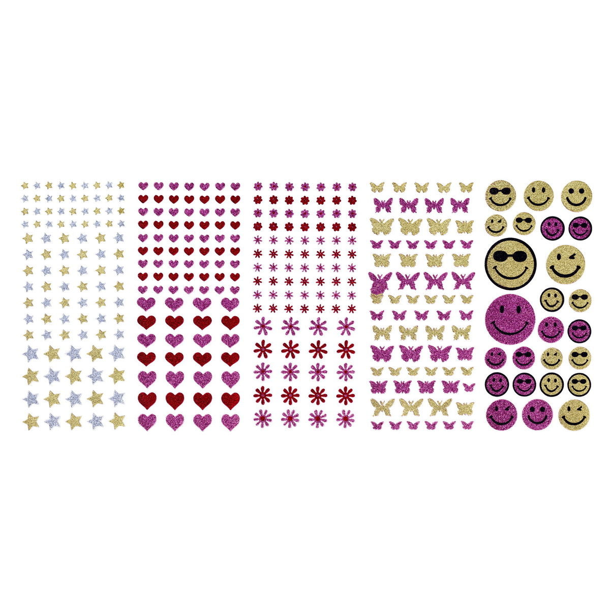 Stickers 10ark plast/Glitter