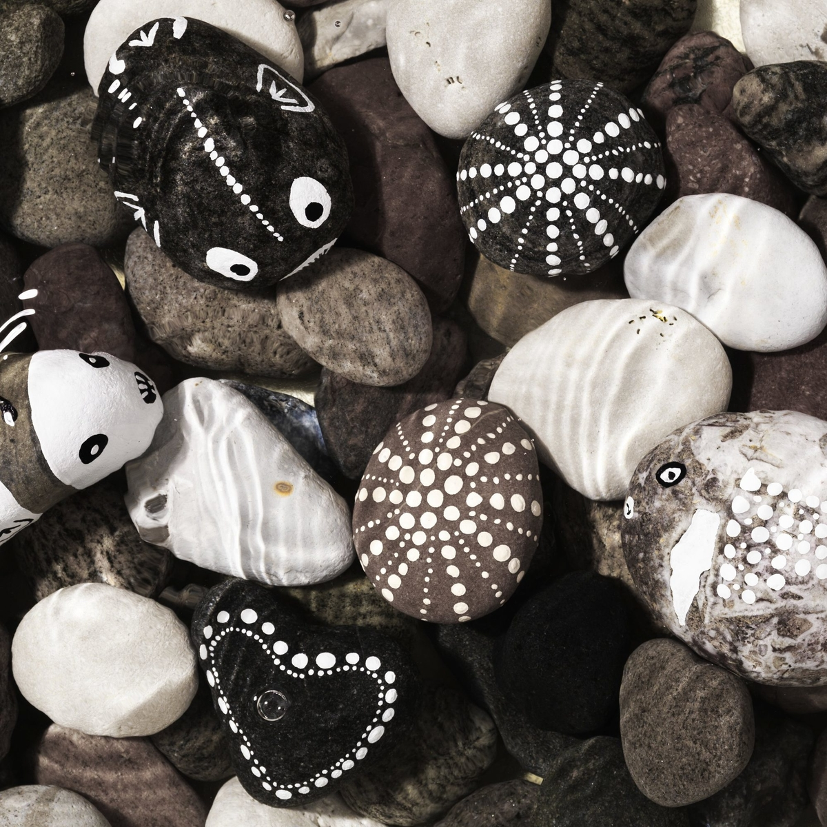 Paint designs on stones