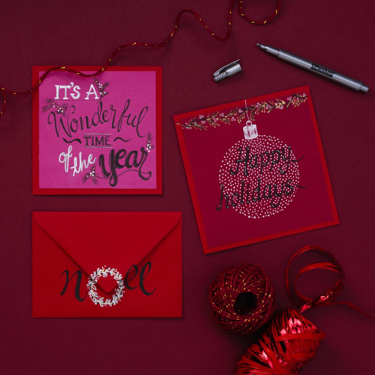 Presentband strimlad röd