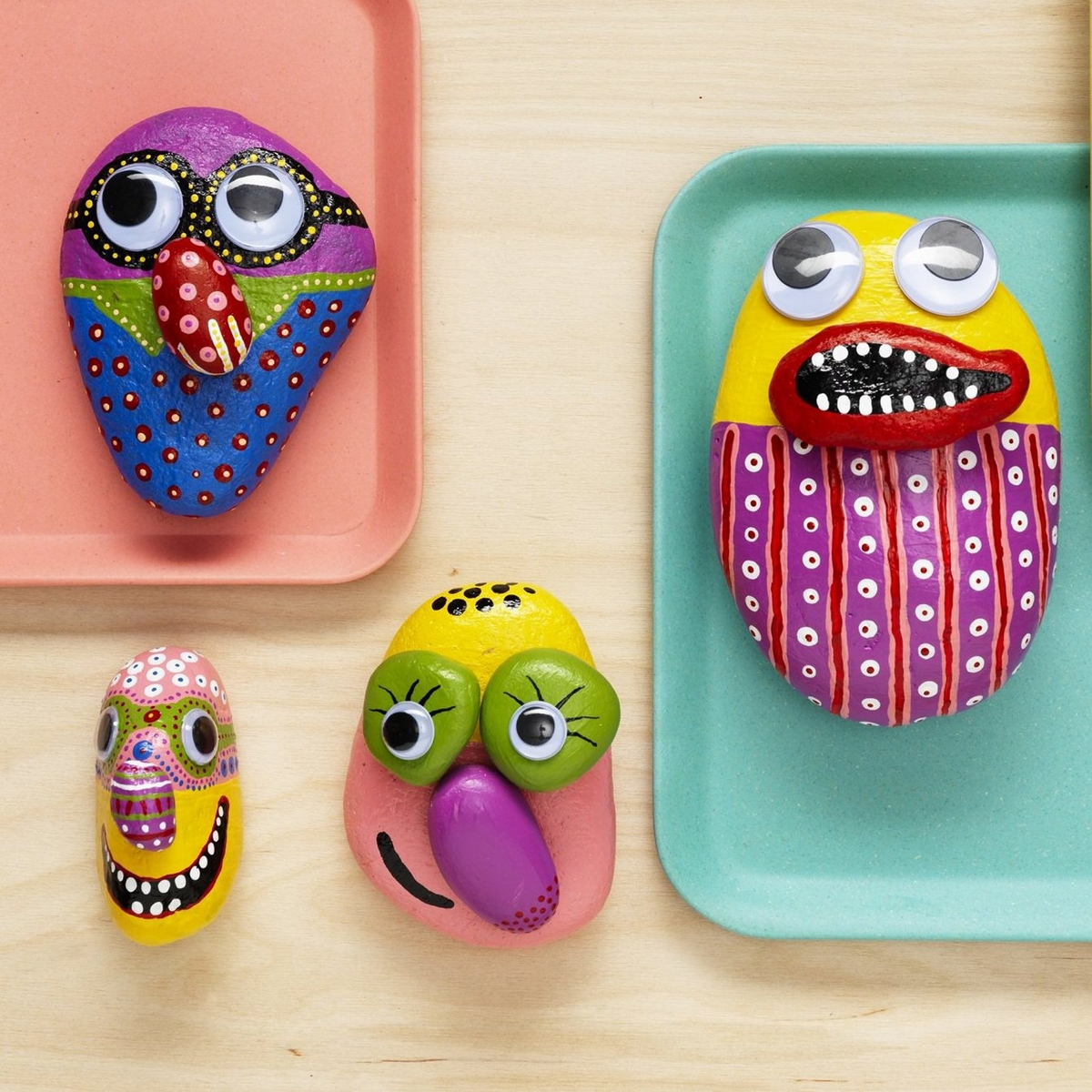 Paint funny stone monsters