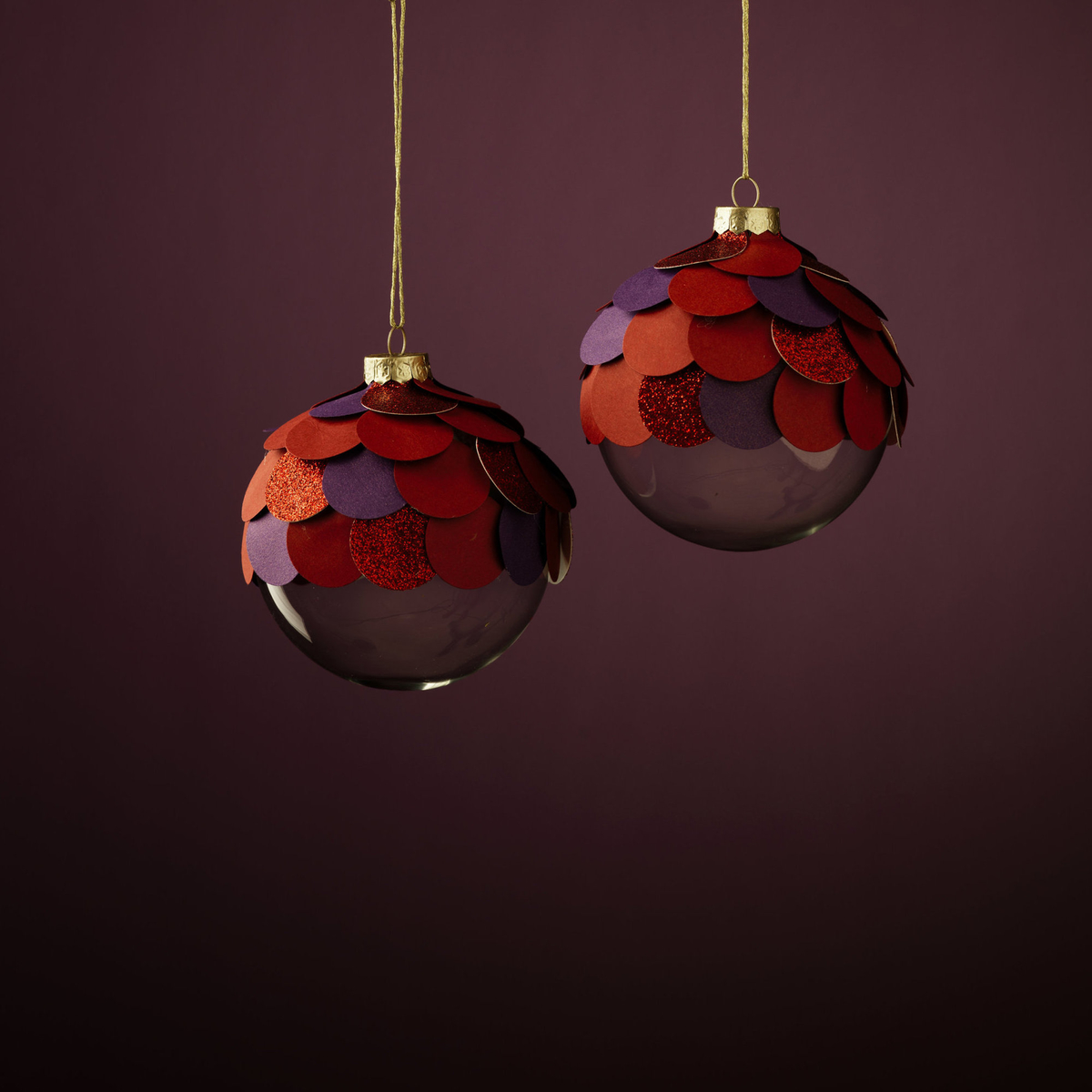 Pine cone baubles for Christmas