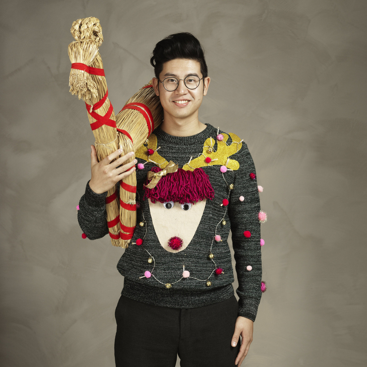 Ugly Christmas sweater with reindeer