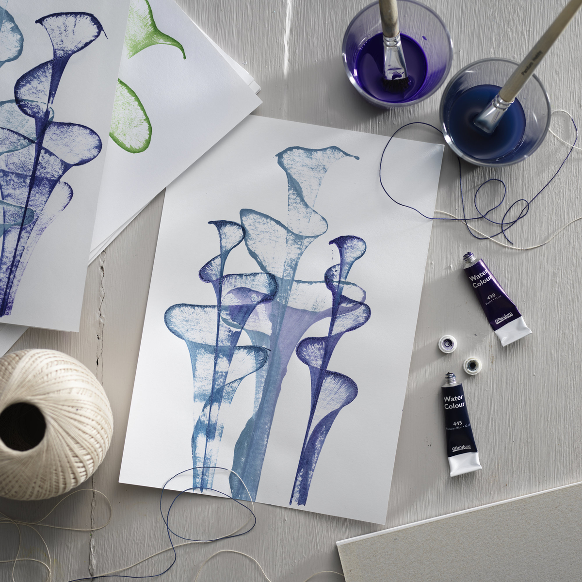 Watercolour painting with string