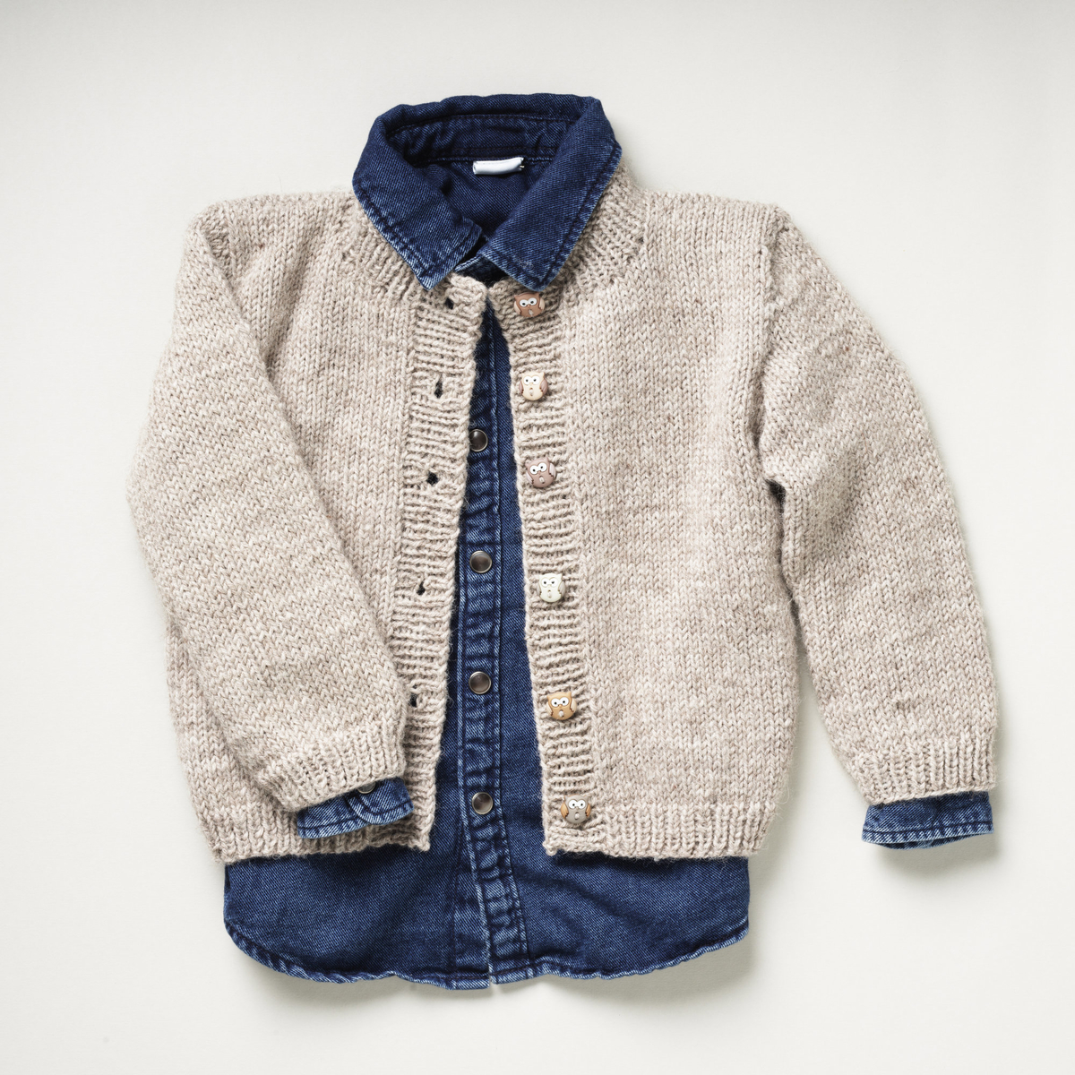 Strikket cardigan til barn