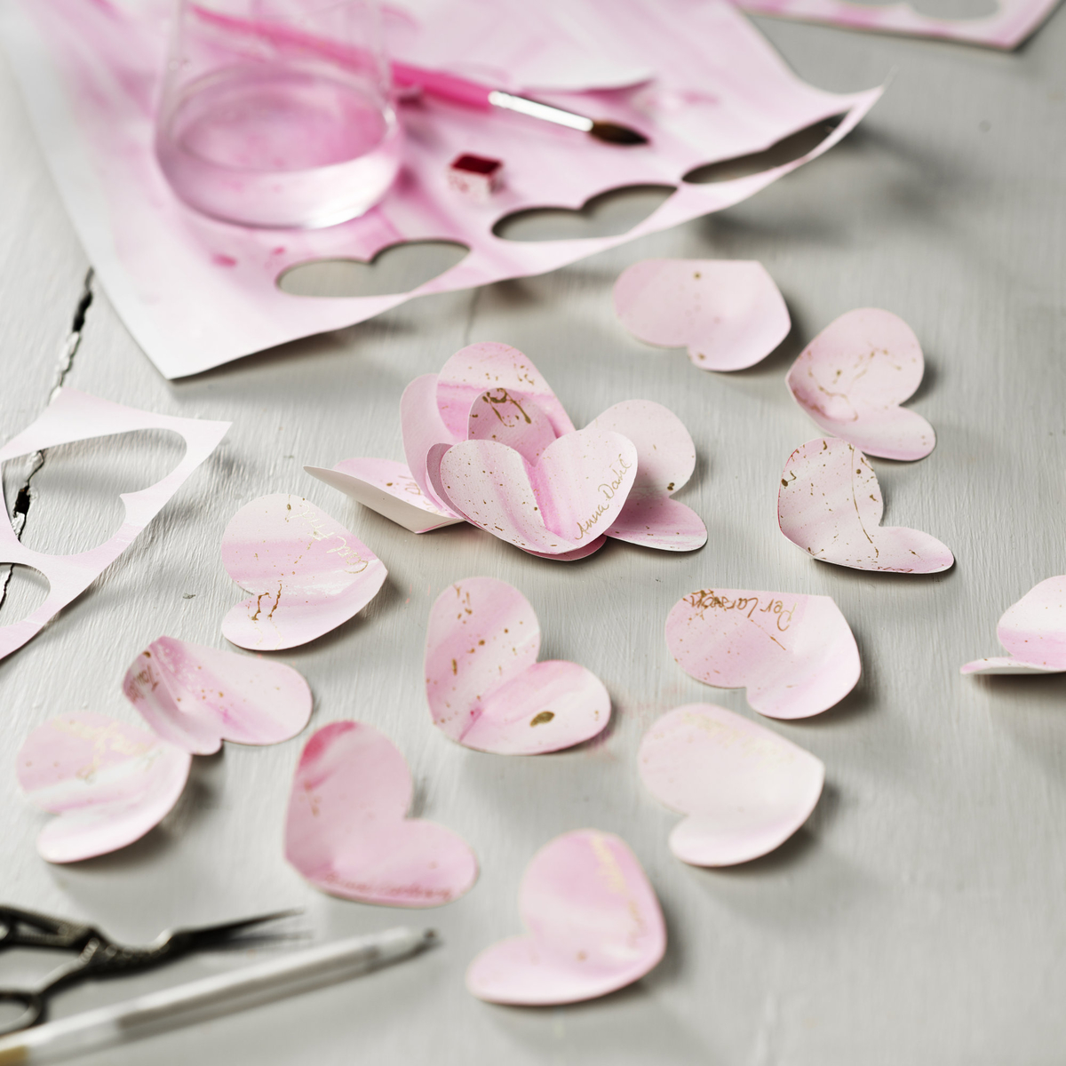 Paint heart-shaped place cards