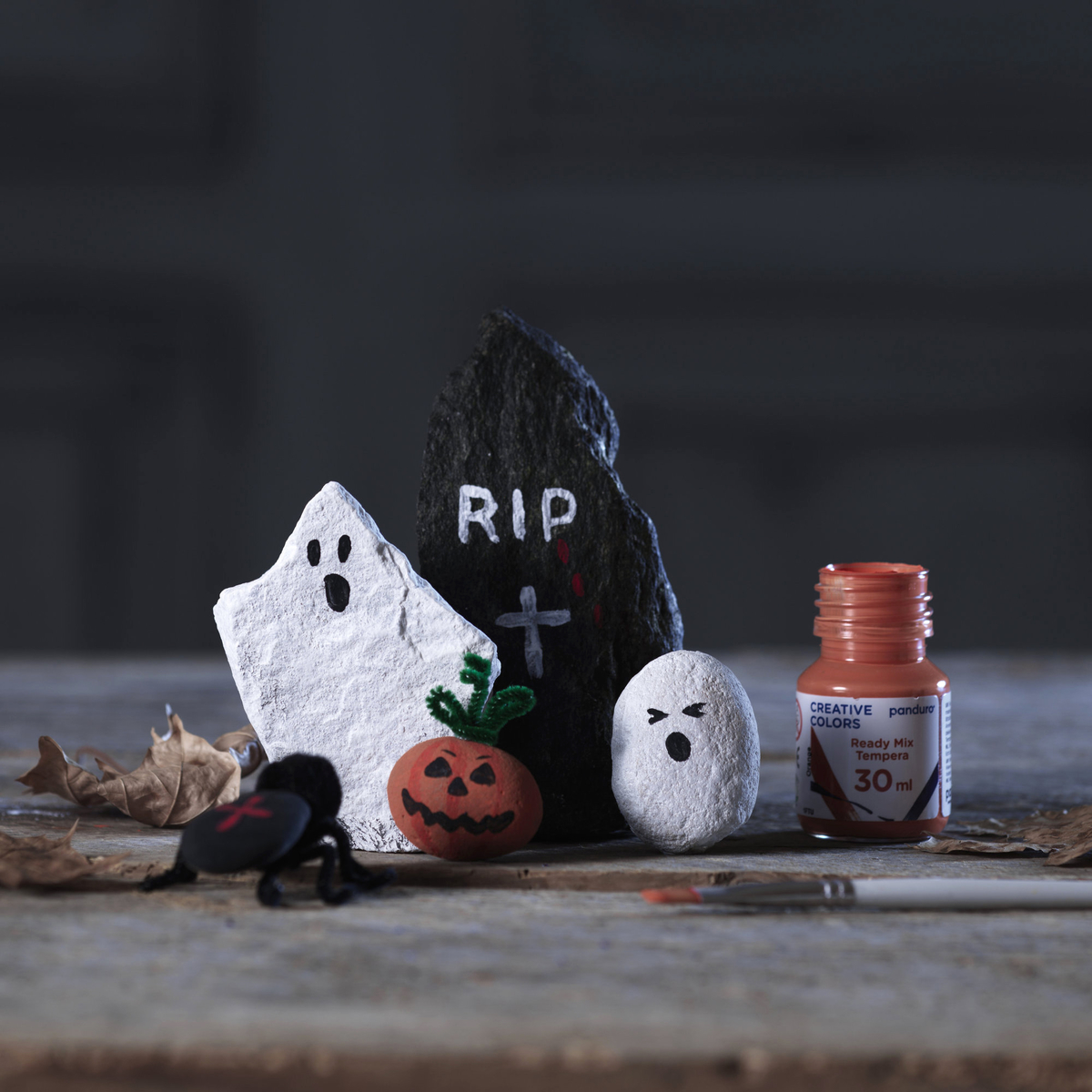 Decorate spooky Halloween stones