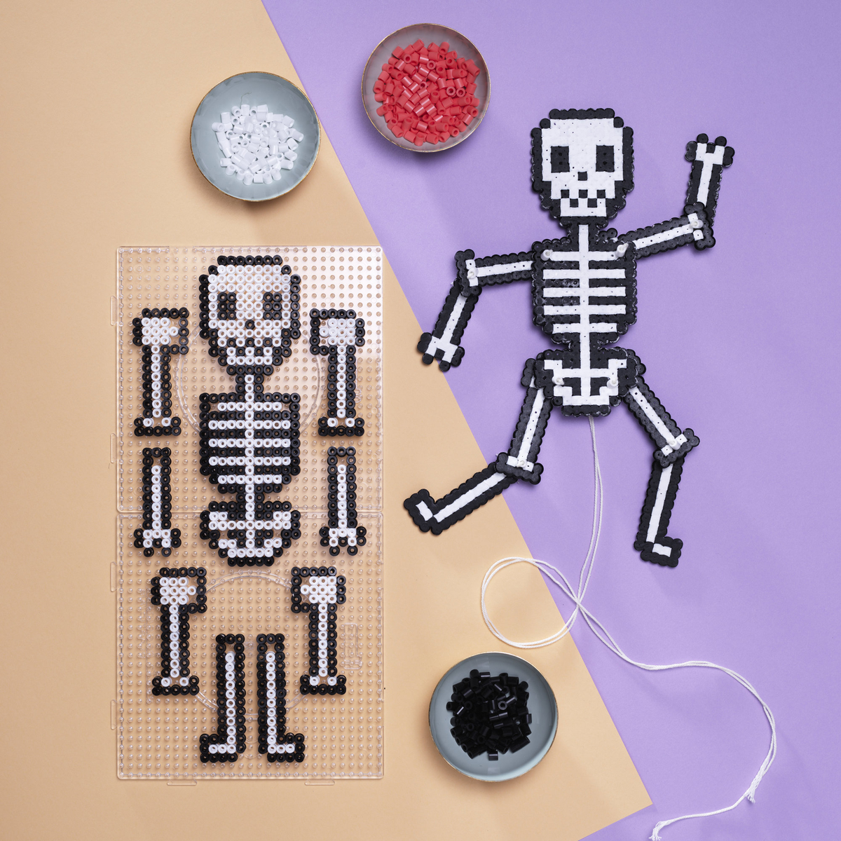 Bead a jumping jack skeleton
