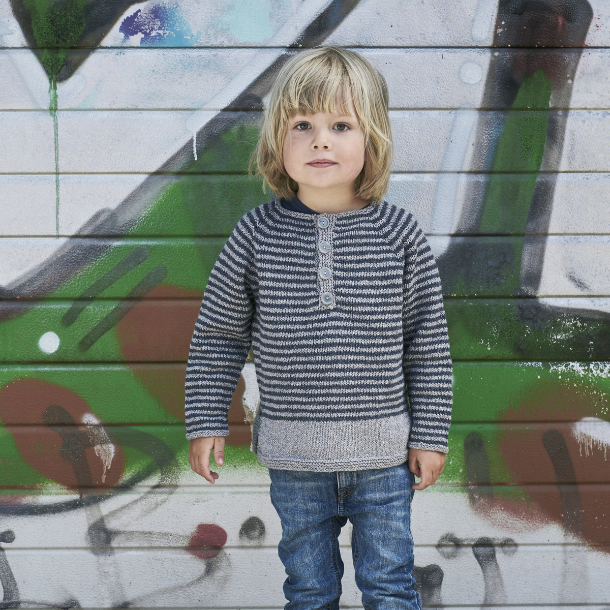 Knit a striped Henley jumper for kids