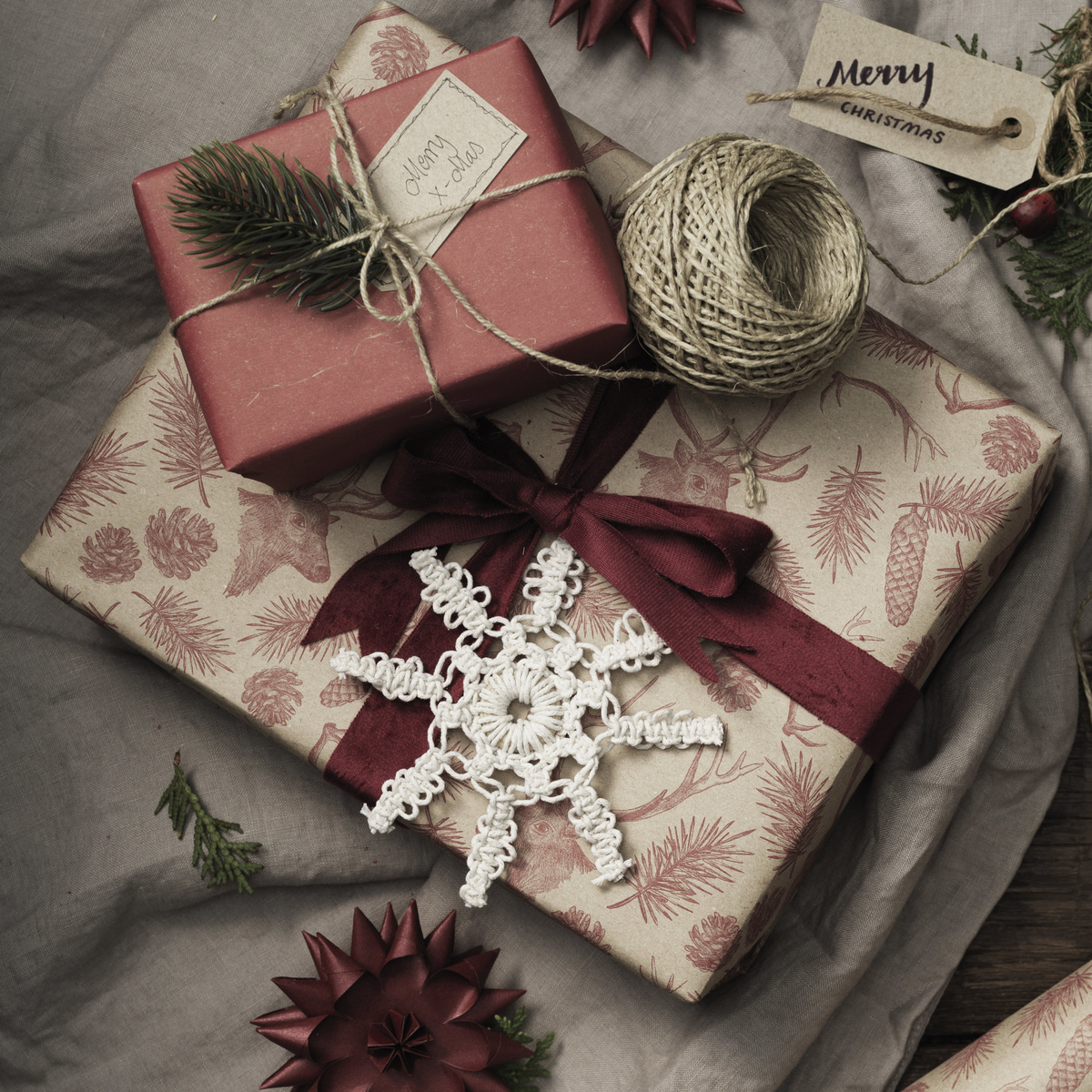 Decorate for the holidays with macramé stars