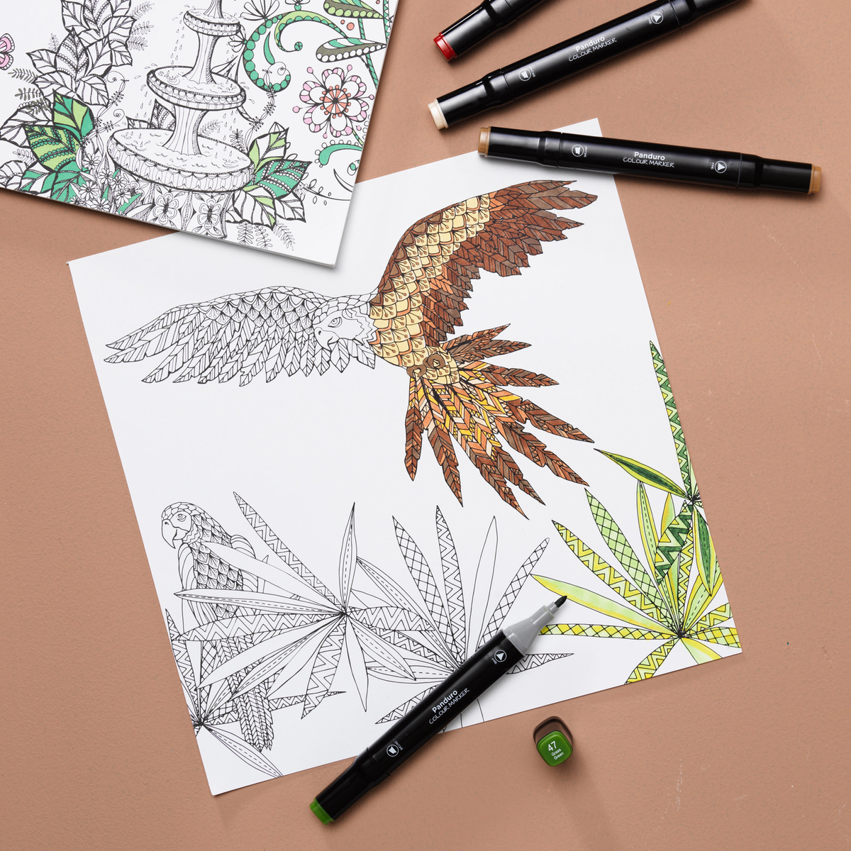 Colour in colouring books with markers
