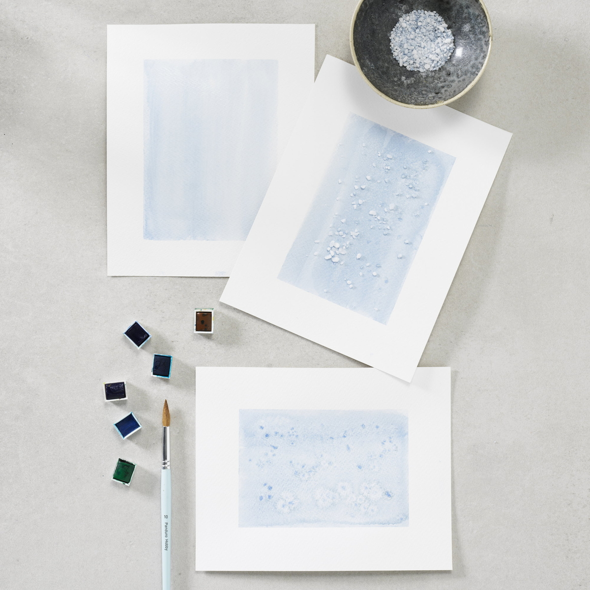 Watercolour painting with salt