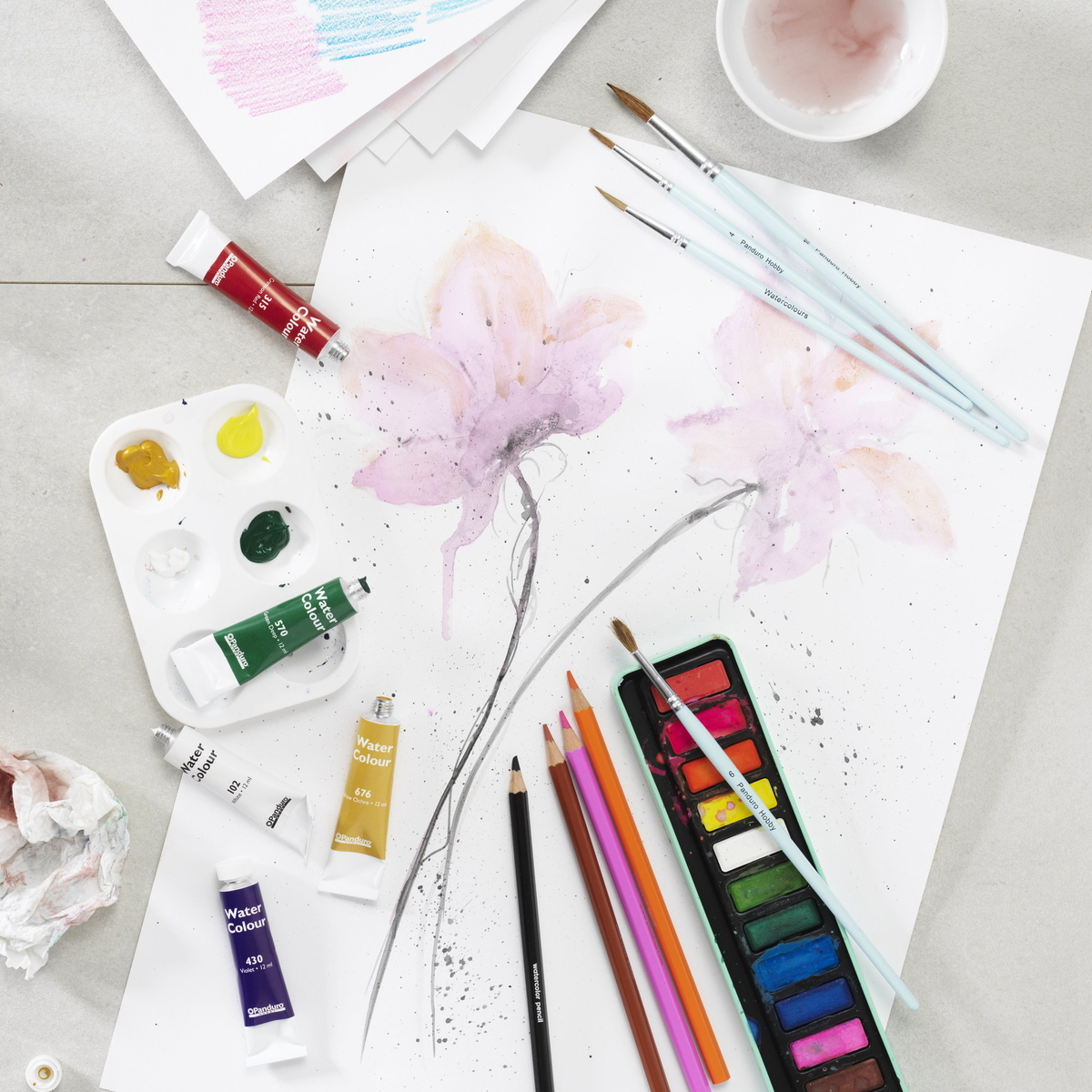 Try watercolour paint in various forms